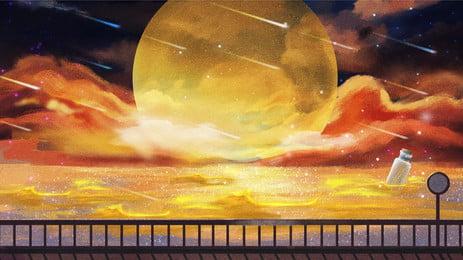 dusk sunset riverside background design, Beautiful, Orange, Dusk Background image
