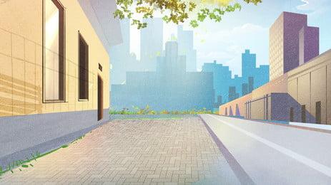 明け方の街背景手描きデザイン Pspd背景 アニメーションの背景 広告の背景 背景画像