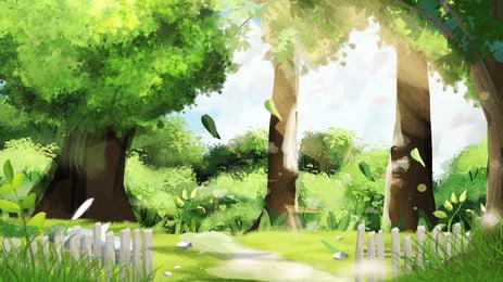 woods awal reka bentuk latar belakang ilustrasi pagi yang dilukis dengan tangan, Pagi Awal, Latar Belakang Woods, Latar Belakang Ilustrasi imej latar belakang