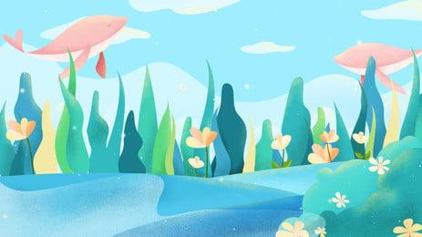 परी कथा सपने पानी के नीचे की दुनिया पृष्ठभूमि डिजाइन, परी कथा, चित्रित, सपना पृष्ठभूमि छवि