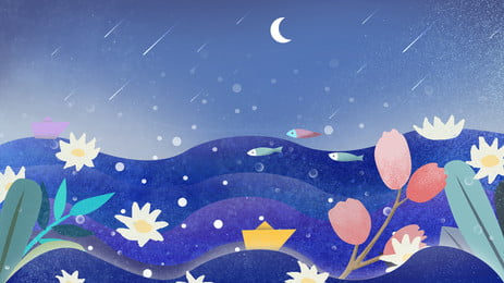 Fairy Tale Wind Painted Starry Meteor Shower Flower Sea Background Tale,colorful Background,painted Background,illustration, Background, Starry, Sky, Background image