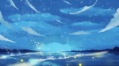 판타지 푸른 별이 빛나는 바다 배경, 꿈, 블루, 별이 빛나는 하늘 배경 이미지