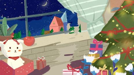 판타지 크리스마스 이브 축제 배경 일러스트 레이션 꿈,마을,별이 빛나는 배경,크리스마스 ,판타지,크리스마스,이브 배경 이미지