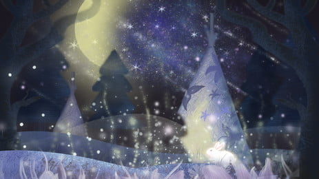 판타지 크리스마스 이브 축제 숲 배경 일러스트 레이션 별이 빛나는 하늘,아름다운,꿈,눈,눈이 ,하늘,아름다운,꿈 배경 이미지