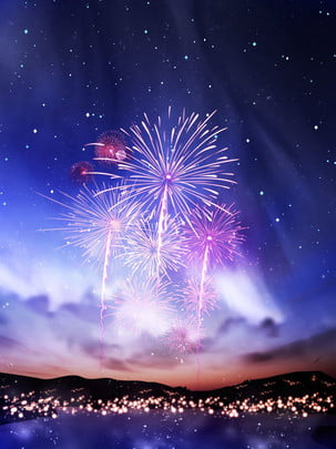 fantasy night sky romantic beautiful fireworks background , Beautiful Fireworks, Fantasy Night Sky, Starry Background Background image