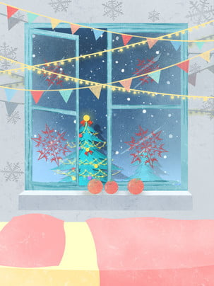 fantasy snowflake christmas promotional display board background , Dream, Starry Background, Christmas Tree Background image