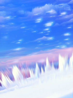 fantasy starry sky 3d blue white snow background , White Snow, Starry Sky, Blue Sky Background image