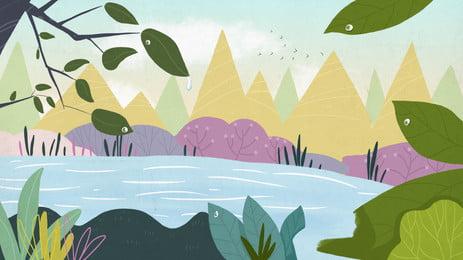 weites gebirgsteich holzhintergrundmaterial, Dreieck, Teich, Pflanze Hintergrundbild