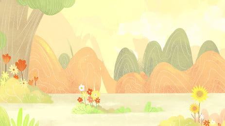 cây thiết kế nền hoa nhỏ, Nền Tươi, Phim Hoạt Hình, Vẽ Tay Ảnh nền