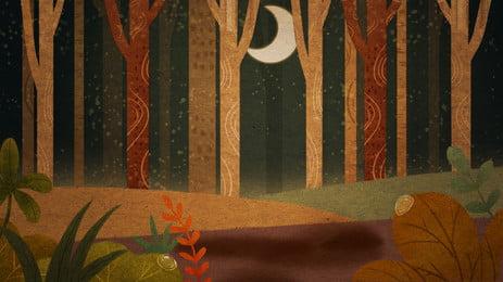 森林トランクの夜の漫画の背景 漫画の背景 ウッズ トランク 背景画像