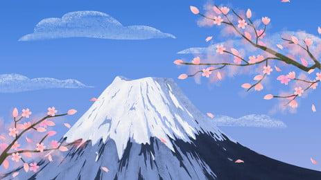 thiết kế nền núi tuyết hoa anh đào tươi và đẹp, Tươi, Đẹp, Nhật Bản Ảnh nền