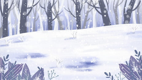 thiết kế nền hoạt hình mùa đông rừng bạch dương tươi và đẹp, Tươi, Đẹp, Mùa đông Ảnh nền