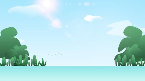 新鮮なブルーグリーンツリーの背景素材 大きな木 青い空 空 背景画像