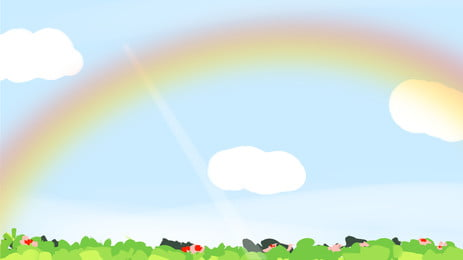 fresh cartoon blue sky rainbow background design, Fresh, Cartoon, Lovely Background image