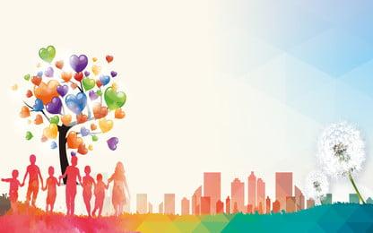 ताजा शहर गुब्बारा विज्ञापन पृष्ठभूमि, विज्ञापन की पृष्ठभूमि, गुब्बारा, पेड़ पृष्ठभूमि छवि