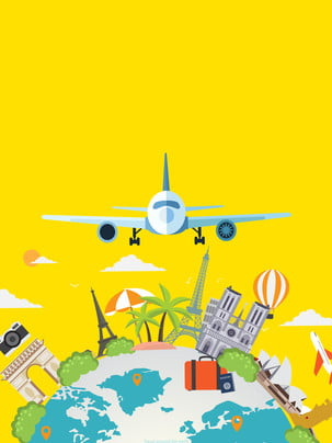 Fresh earth airplane travel advertising background , Advertising Background, Yellow Background, Aircraft Background image