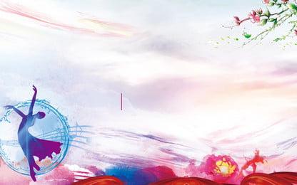 生花ダンスの女の子の広告の背景, 広告の背景, 踊る, 10代の少女 背景画像