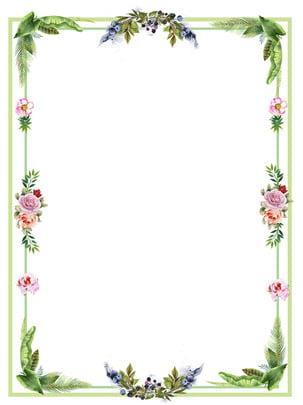 ชายแดนพืชดอกไม้สด สัจนิยม ดอกไม้ พืชสีเขียว รูปภาพพื้นหลัง