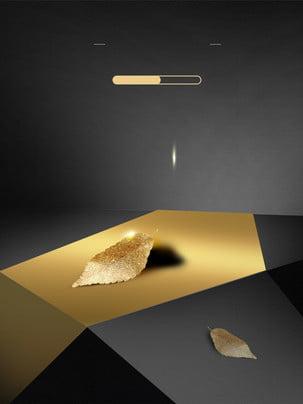 清新黃金葉子廣告背景 , 廣告背景, 簡約, 深色背景 背景圖片