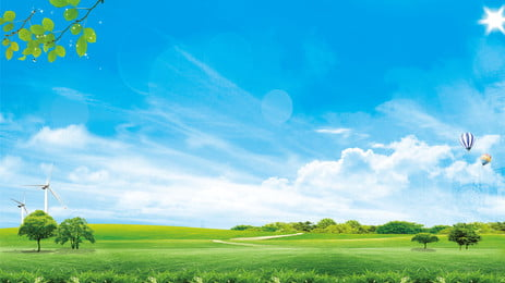 fresh grass blue sky background design, Advertising Background, Background Design, Background Display Board Background image
