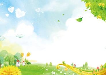新鮮な草の緑の葉漫画の背景 青い空 新鮮な グラスランド 背景画像