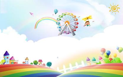 新鮮な手描きの遊園地広告の背景 広告の背景 新鮮な 青い背景 観覧車 太陽 クラウド 虹 遊園地 広告の背景 新鮮な 青い背景 背景画像