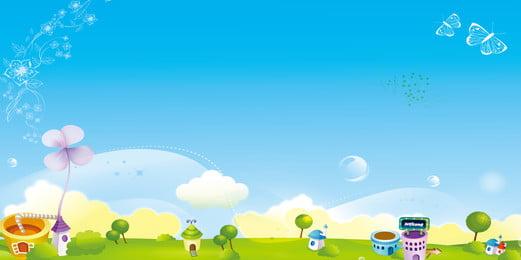 新鮮な手描きの青空の背景デザイン 新鮮な背景 漫画 青空の牧草地 背景画像