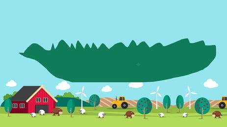 Fresh Hand-painted Grassland Advertising Background Background,blue Background,houses,grass,simple,trees,fairy Tale,simple, Fresh Hand-painted Grassland Advertising Background, Background, Blue, Background image