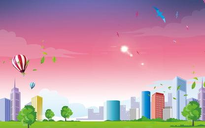 新鮮な公園の広告の背景, 広告の背景, 熱気球, 葉っぱ 背景画像