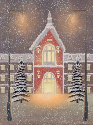fresh romantic snowy holiday house background , Snowing, Snowflake, Heavy Snow Background image