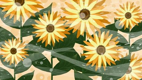 清新向日葵花背景設計, 手繪, 清新背景, 向日葵背景 背景圖片