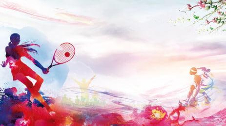 Fresh Tennis Sports Advertising Background, Advertising Background, Hand Painted, Motion, Background image