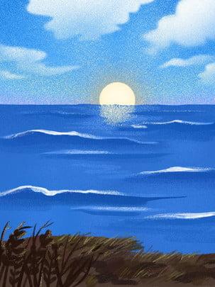 Fresco textura encosta litoral amanhecer ilustração fundo Fundo Ilustração Beleza Imagem Do Plano De Fundo