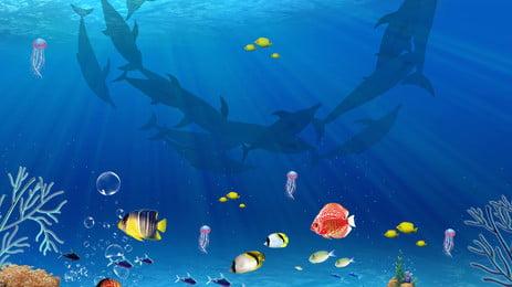 新鮮な水中世界の広告の背景, 広告の背景, 新鮮な, 海 背景画像