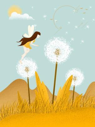 新鮮な小麦畑の蜂の女の子の広告の背景 , 広告の背景, たんぽぽ, 10代の心 背景画像