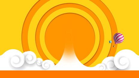 fresh yellow striped circle ad background, Advertising Background, Circle, Yellow Background Background image