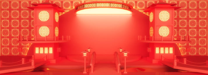 Full 3D Space Red Spring Festival Puente Loft Fondo festivo Año nuevo Festival de Nuevo Rojo Festivo Imagen De Fondo
