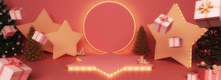full 3d stereo stage space christmas package background, 3d, Stereoscopic, Stage Background image