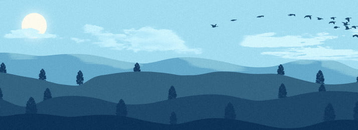 full blue sky mountain landscape illustration background, Blue Sky, Mountain Range, Mountain Background image