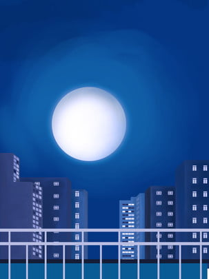 full city night view hand drawn background , City Background, Hand Painted Background, City Night Scene Background image