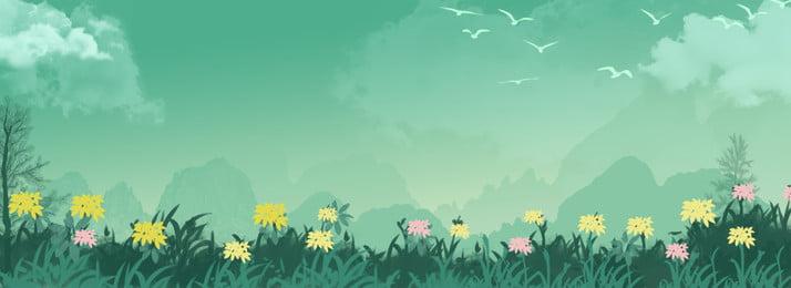 満開の花の背景, 手描き, 花, グリーン 背景画像