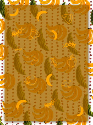 全水果香蕉葉子背景 , 水果, 清新, 葉子 背景圖片
