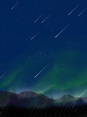 full hand drawn wind aurora starry night sky background , Night, Starry Sky, Background Background image