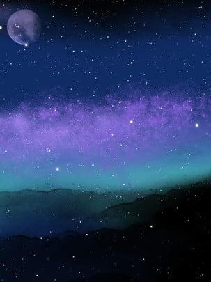 全手繪風繁星點點夜空背景 手繪 繁星點點背景 夜背景圖庫