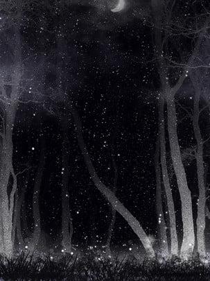 全手繪風繁星點點夜空背景 , 黑, 神秘, 夜 背景圖片