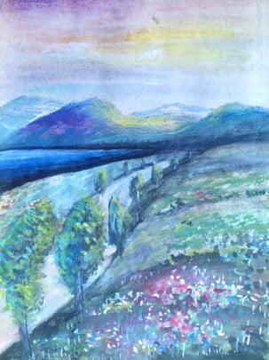 Full vẽ tay gouache phong cảnh minh họa nền Vẽ Tay Nền Hình Nền