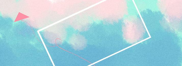 全手繪水彩背景風箏藍天, 風箏, 藍天, 簡約 背景圖片