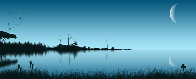 see landschaftshintergrund der vollen nacht, Hand Gezeichnet, Nacht, Seeufer Hintergrundbild