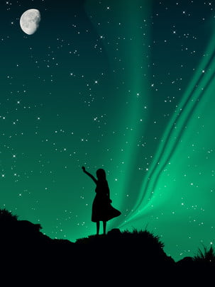 full star sky aurora silhouette background , Hand Painted, Aurora, Silhouette Background image