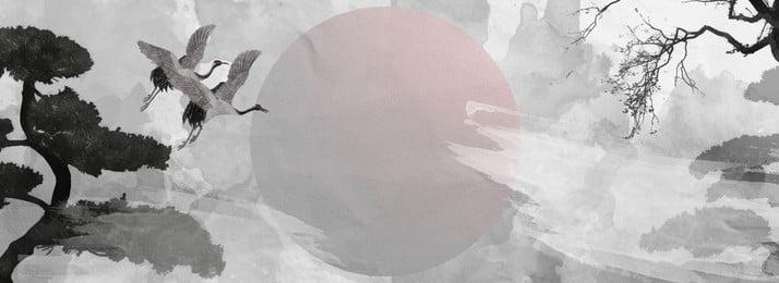 満水の美しい古代スタイルのインククレーンの背景, インクスタイル, クレーン, リス 背景画像